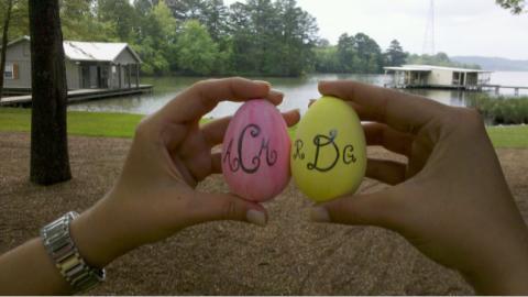 Monogrammed Easter eggs. TSM.