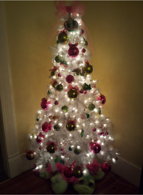 Christmas Tree complete with pink and green customized ornaments, our crest ornament at the top, and turtle tree skirt.