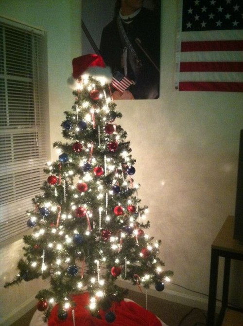 Decorating a tree for your fratdaddy so he is pressured to put more gifts under it for you. TSM.