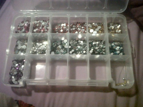 Finally finished organizing my rhinestones by color and size. TSM.