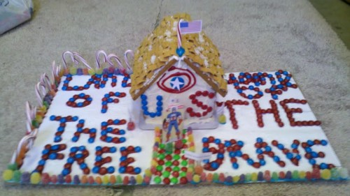 An American Christmas: Captain America's House made out of gingerbread.