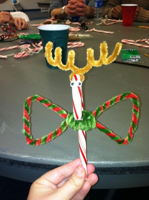 Giving your candy cane reindeer a bow tie. TSM.