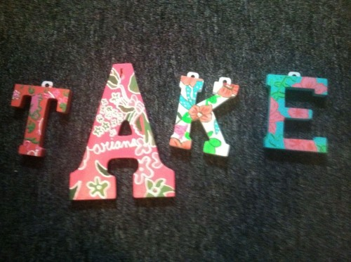 Lilly letters for my sisters' doors :)