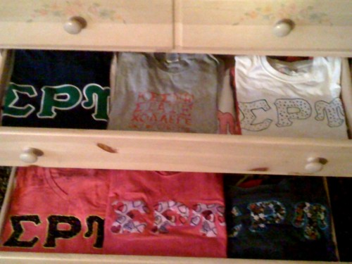 Only two semesters as a sister and this is only a little more than half of my shirts. TSM.