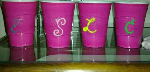 Pink solo cups with puff paint monograms at our beach house on Spring Break. TSM.