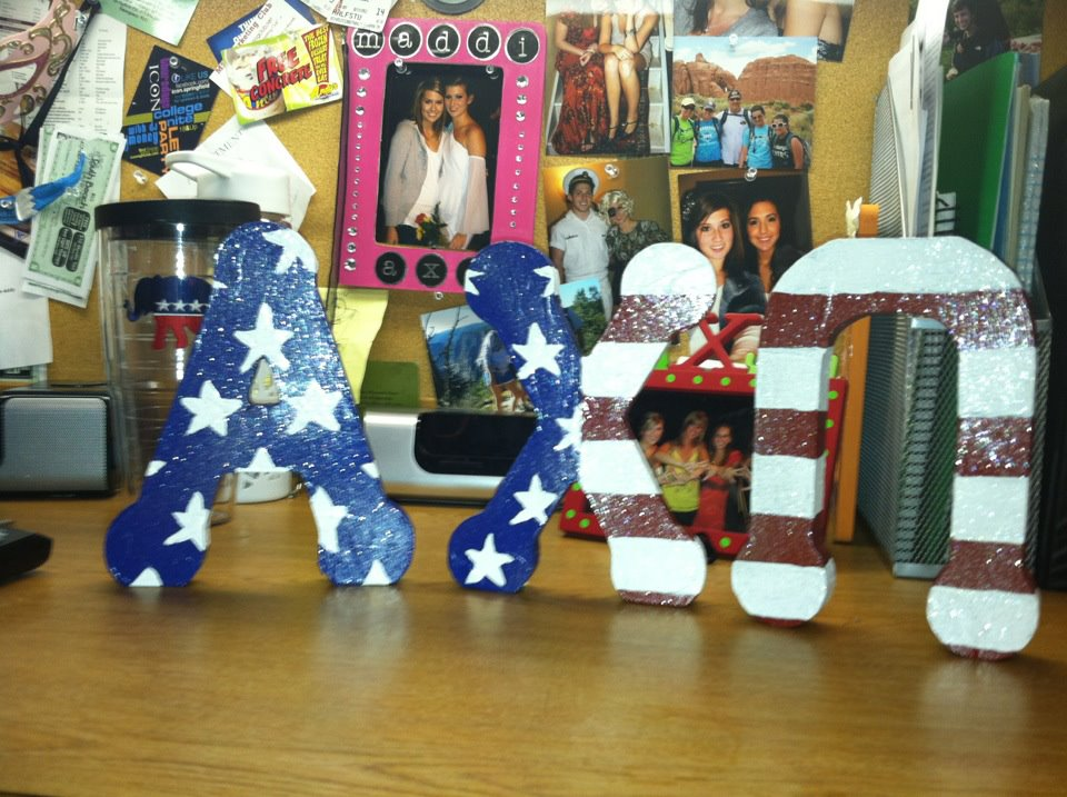 Glitter, 'Merica and Alpha Chi...pretty decent mix. TSM.