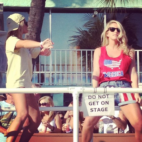 """Do not get on stage."""