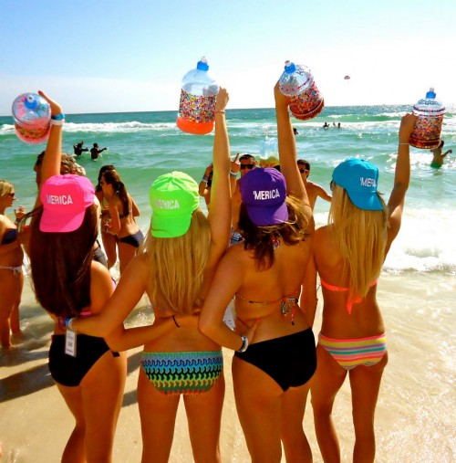 Reminiscing on Spring Break 2012. 'Merica, bikinis, and bedazzled jugs. TSM.