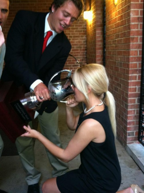 Drinking Natty out of my fraternity's Greek Week trophy. Sweetheart love. TSM.