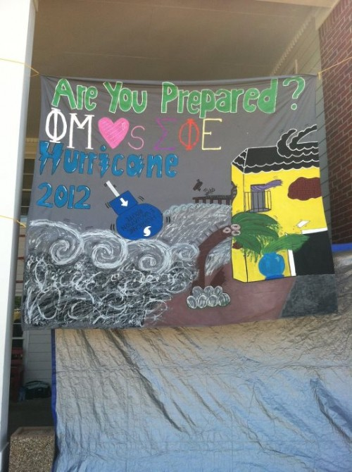 Paintbrushes: $15. Glitter: $20. Paint: $30. The banner that you spent 20 hours hand-painting successfully surviving Hurricane Weekend 2012: TSM.