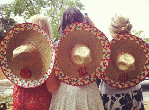 Cinco de Derby monogrammed sombreros. TSM.