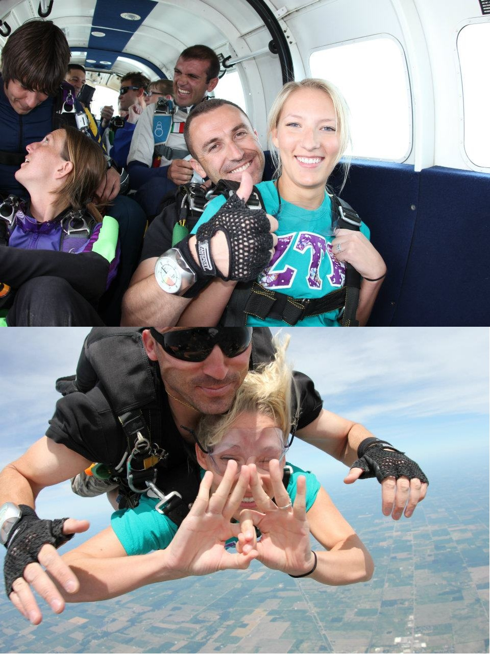 Throwing your sign while skydiving...in letters. TSM.