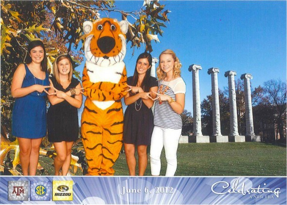 ADPi's giving Truman the Tiger the official welcome to the SEC. TSM.