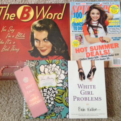 Keep Calm bookmark: $2, Seventeen magazine: $3, Vera Bradley notebook: $12, White Girl Problems: $13, The B Word calendar: $15. The look on the cashier's face: priceless. TSM.