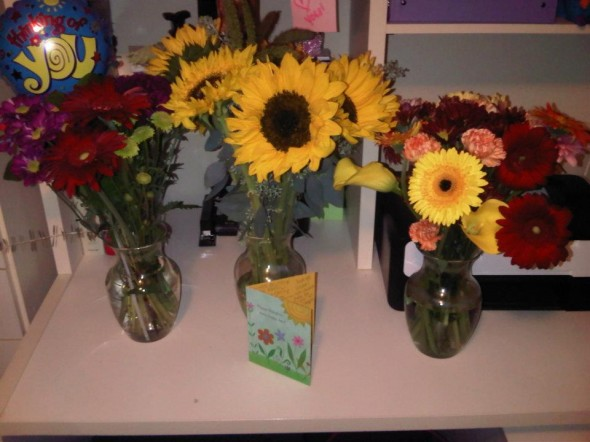 Coming home to three bouquets of flowers from my sisters after my boyfriend broke up with me. TSM.