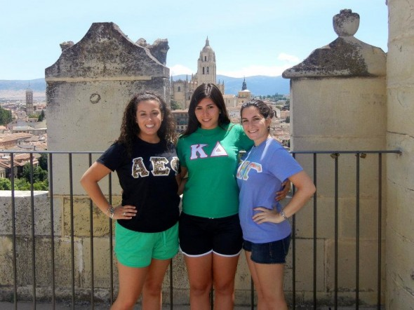 Representing Panhellenic beautifully with my best friends and future roommates from the top of a castle in Spain. TSM.