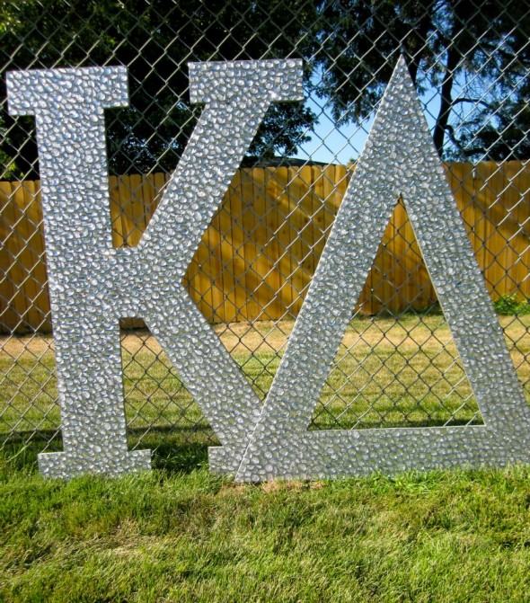 Rhinestone covered letters for bid day. TSM.