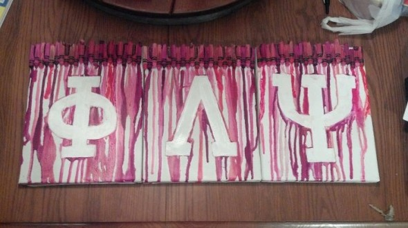 Making crayon letter art for your apartment. TSM.