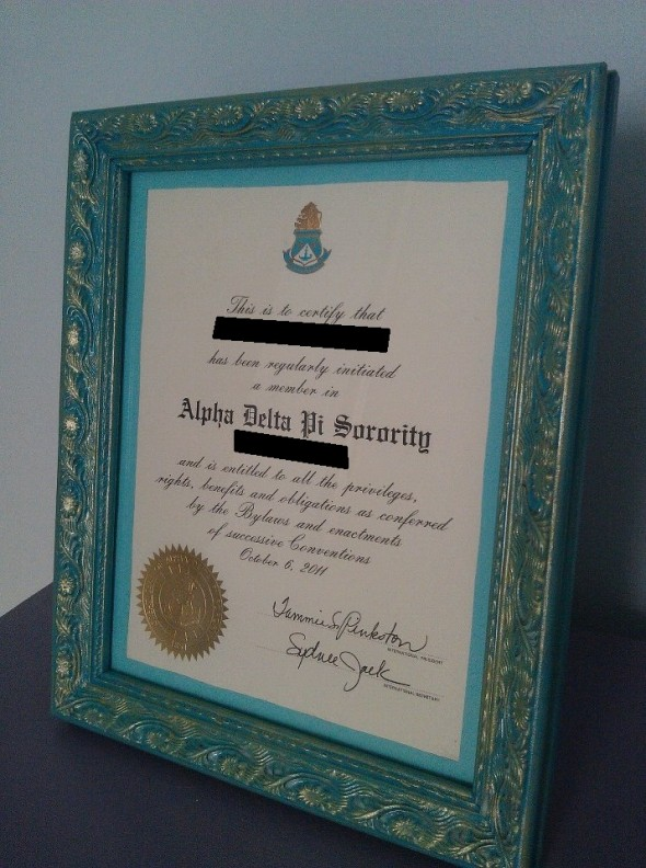 Crafting the perfect frame for my Initiation Certificate. TSM.