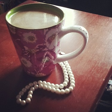 Starting the morning of pref night with my caffeine in Lilly and grandma's pearls. TSM.