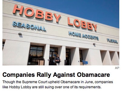Hobby Lobby against Obamacare. TSM.