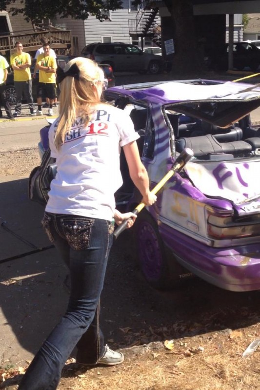 Car smashing for Sigma Pi, in a bow. TSM.