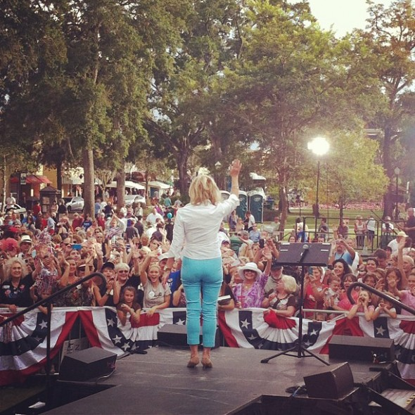 "Literally standing behind Ann Romney at a ""Women for Mitt"" rally. TSM."