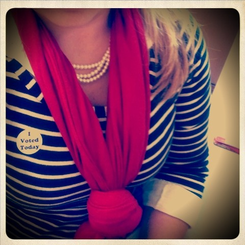 Voting in the red, white, blue and Grandmother's pearls. TSM.