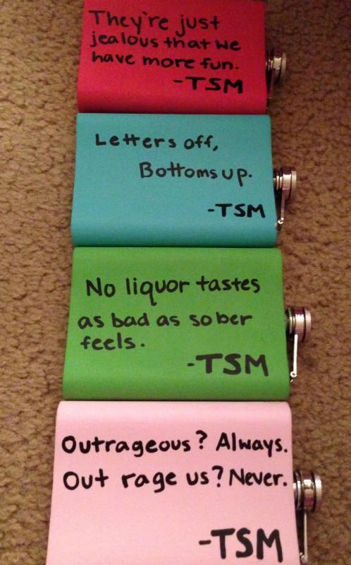 TSM flask Christmas presents for sisters. TSM.