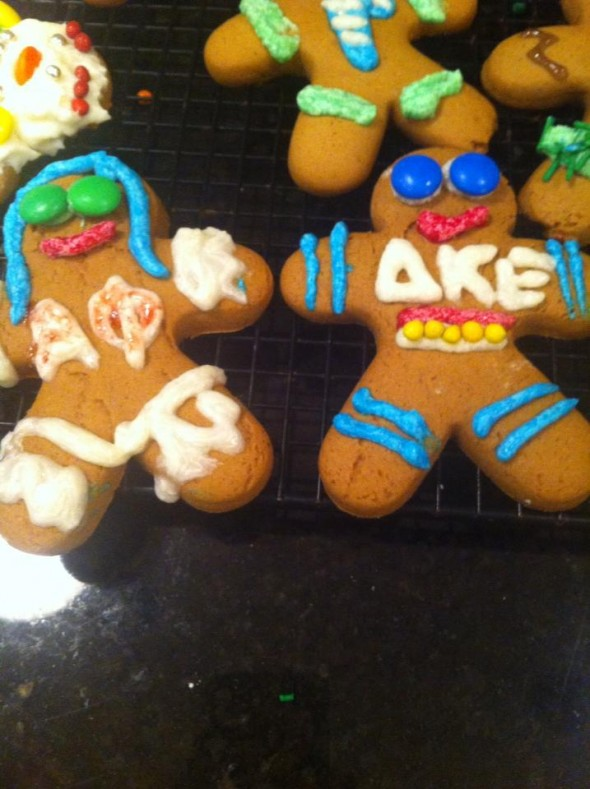 Making gingerbread cookies with his letters, and yours. TSM.