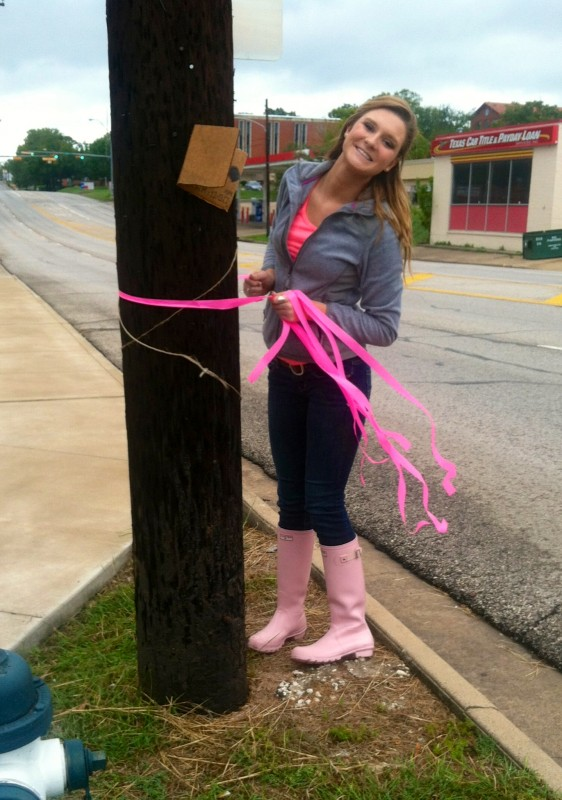 Wearing pink rain boots to support your philanthropy while doing philanthropy work. TSM.