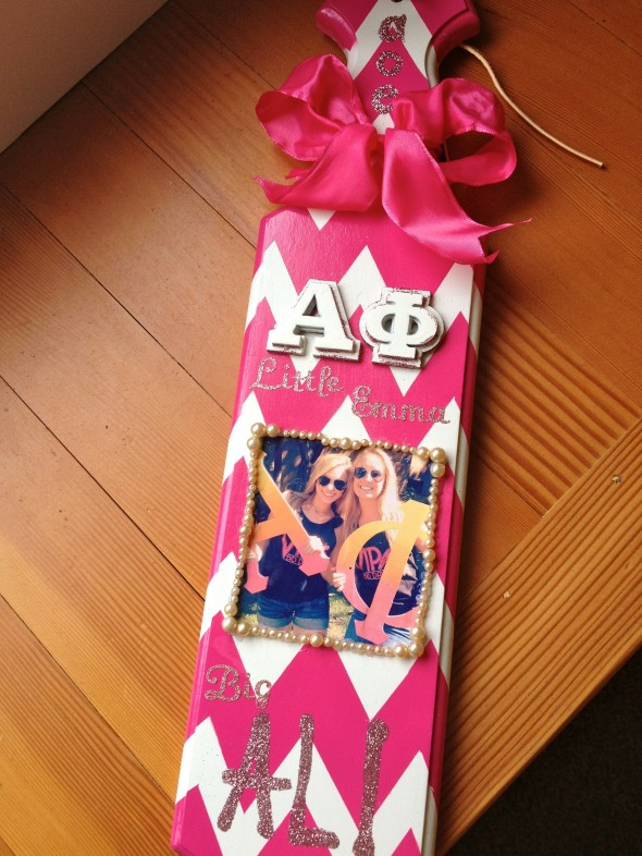 Blood, sweat, and glitter went into making my Big's paddle. TSM.