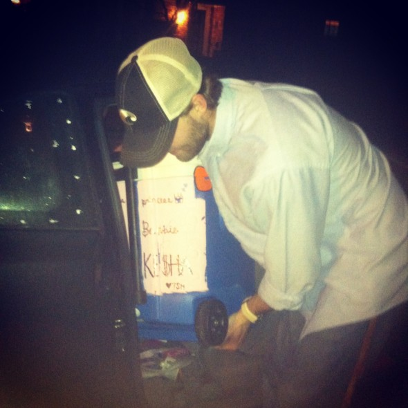 Frat daddy trying to fit the cooler in the back of your car. TSM.