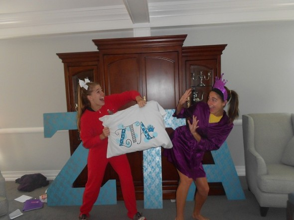 Mid-recruitment pillow fight with the bestie. TSM.