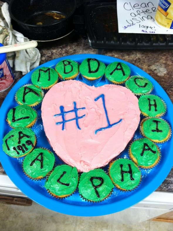 Baking a cake and cupcakes for her favorite fraternity. TSM.