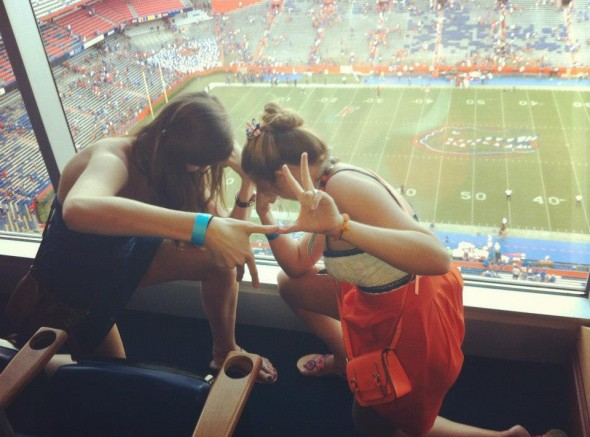 Tebowing Kappa style in Ben Hill Griffin III's box! Oh, and he took the pic too! TSM.