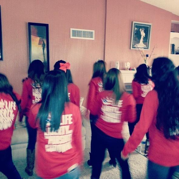 Doing the Wobble on Bid Day. TSM.