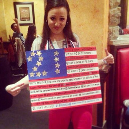 Having an American flag 21st birthday sign. TSM.