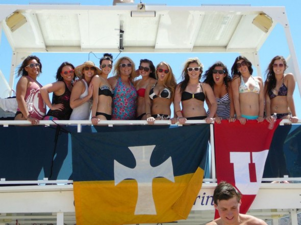 Alpha Phi's taking over the Sigma Chi boat. TSM.
