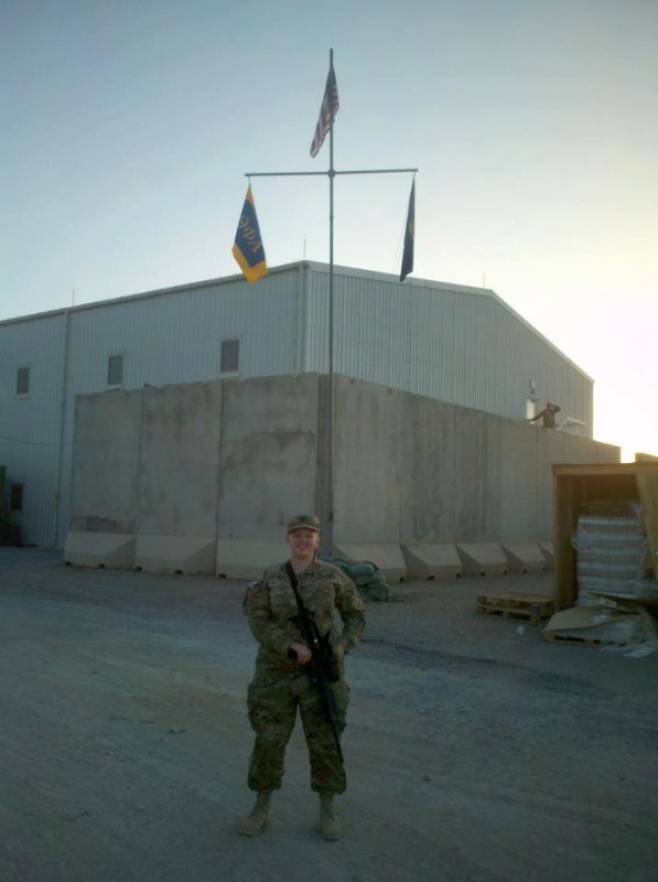 Theta Phi Alpha flag being flown in Afghanistan today. Thanks to all of our sisters who serve, and Happy Founders' Day! TSM.