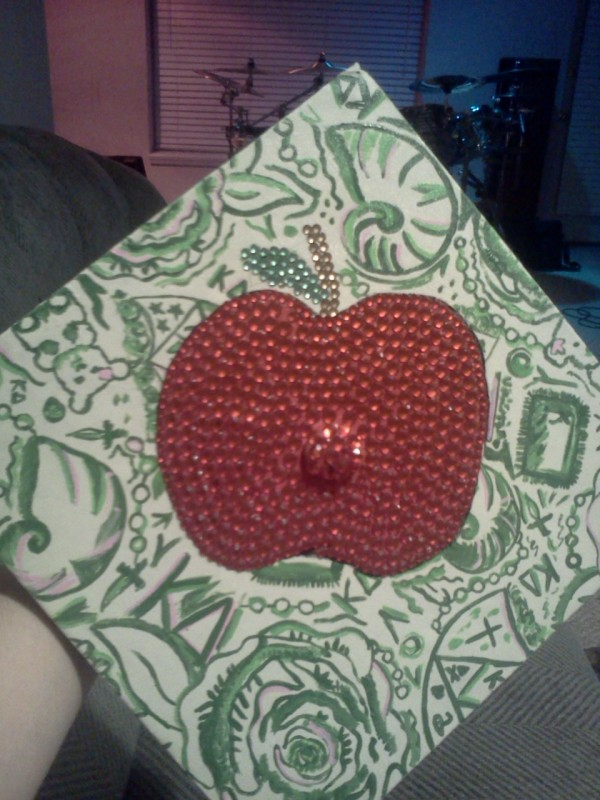 Representing my sorority and my career on my cap. TSM.