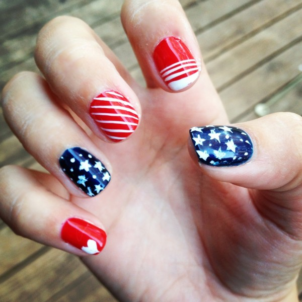 Having American nails with hearts, stars, and stripes. TSM.