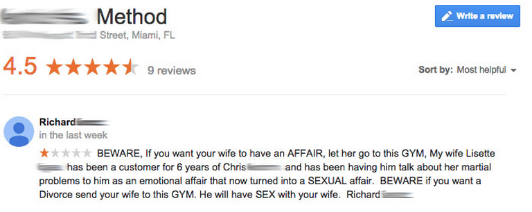 Crazy Google Review