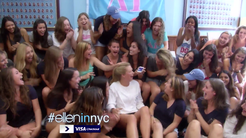 Ellen Hangs Out With DG At Columbia, Because She Loves Sorority Girls