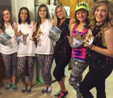 girls partying with cats photoshopped over alcohol