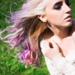 blonde girl purple hair