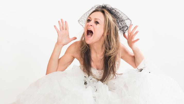 bride crying crazy