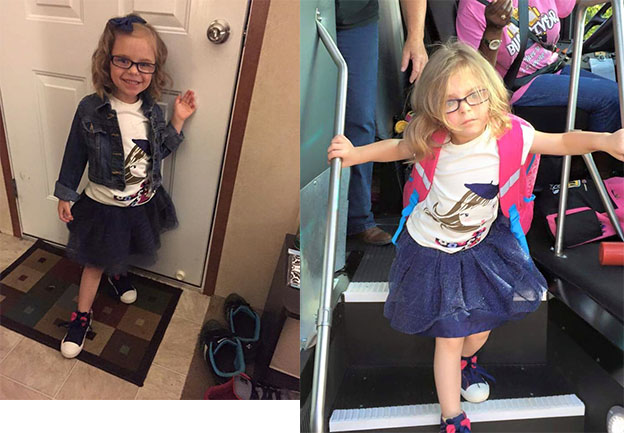 A Mom Captured A Photo Of The Beginning And End Of Her Daughter's First Day Of School, And She Is All Of Us