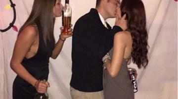 couple kissing single girl kissing bottle