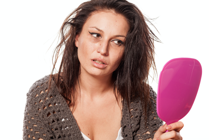 woman looking disheveled